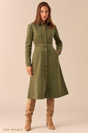 Вельветовое платье-рубашка с ремнем 0451250568
