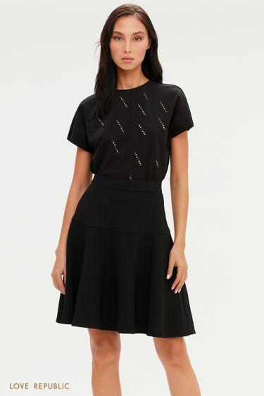 Черная юбка А-силуэта с фактурным швом 0451255212