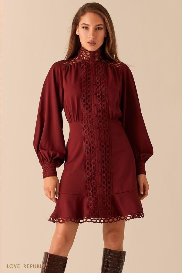 Платье с кружевной отделкой и рукавами-буфами 0451204506-71