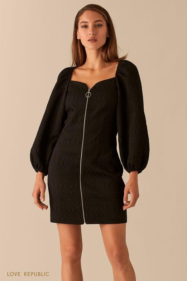 Жаккардовое платье с рукавами-буфами и акцентной молнией 0451207507-50
