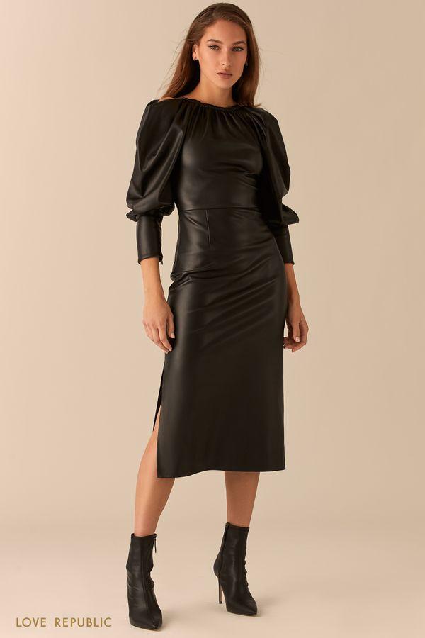 Кожаное платье с открытыми плечами и разрезами 0451217510-50