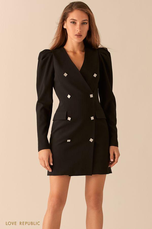 Двубортное платье-пиджак с рукавами-фонариками 0451222539-50