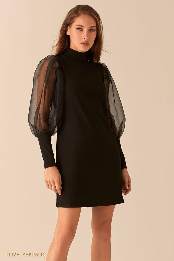 Платье прямого силуэта с рукавами-буфами из органзы 0451225532-50