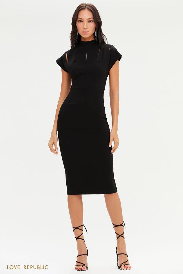 Черное приталенное платье с разрезами на лифе 0451228533-50