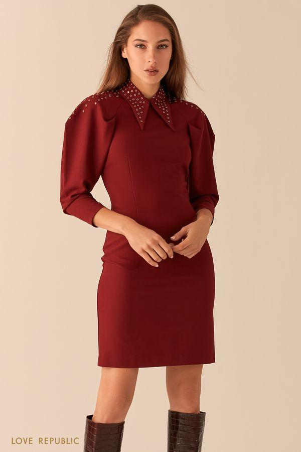Приталенное мини-платье с объемными рукавами реглан 0451230535-71