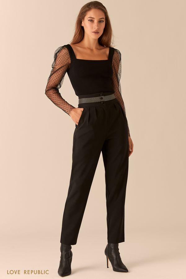 Классические черные брюки с акцентными золотыми строчками на поясе 0451234708-50