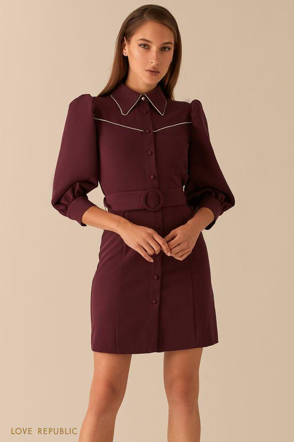 Короткое платье с рукавами-фонариками и акцентным воротничком 0451239558-13