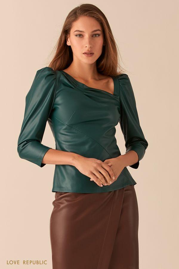 Кожаная блузка с асимметричным вырезом 0451240319-50