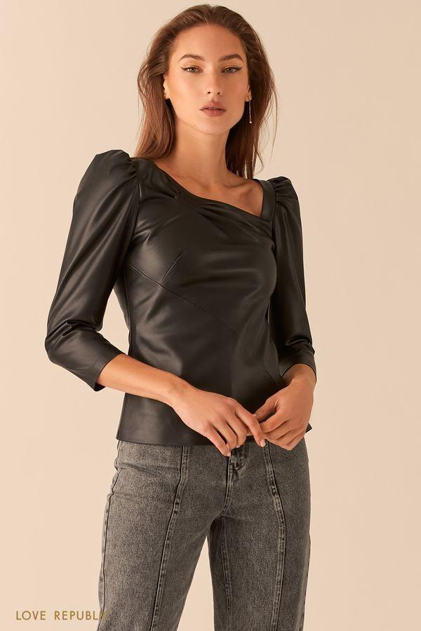 Кожаная блузка с асимметричным вырезом 0451240319-16