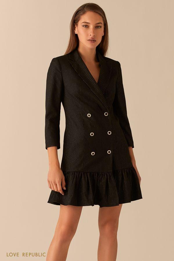 Двубортное платье-пиджак с воланом по подолу 0451241563-50