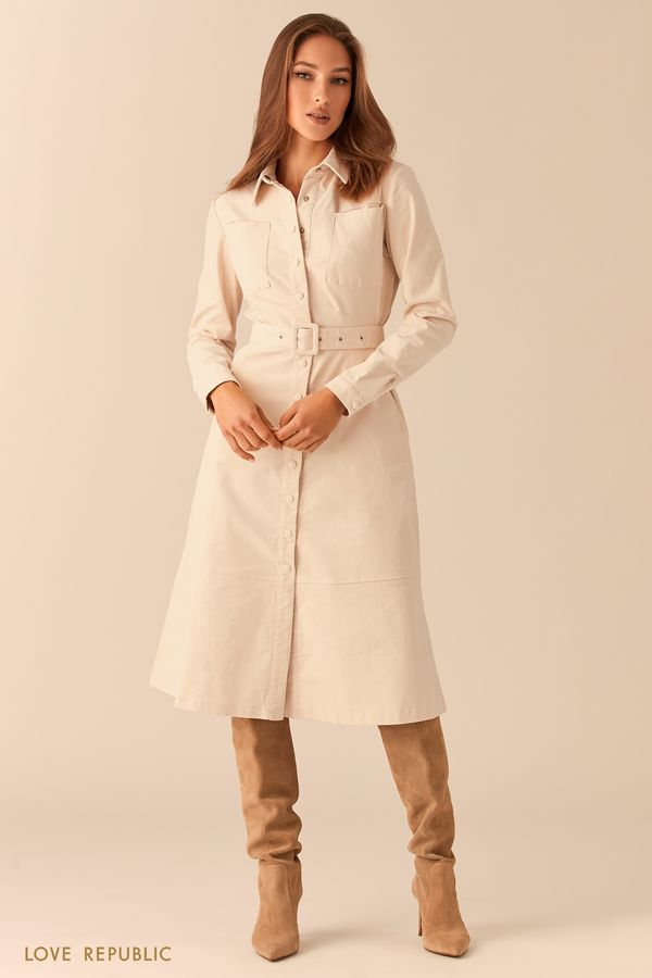Вельветовое платье-рубашка с ремнем 0451250568-13