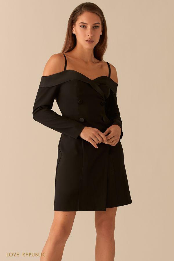 Открытое платье-пиджак с атласными лацканами 0451252522-50