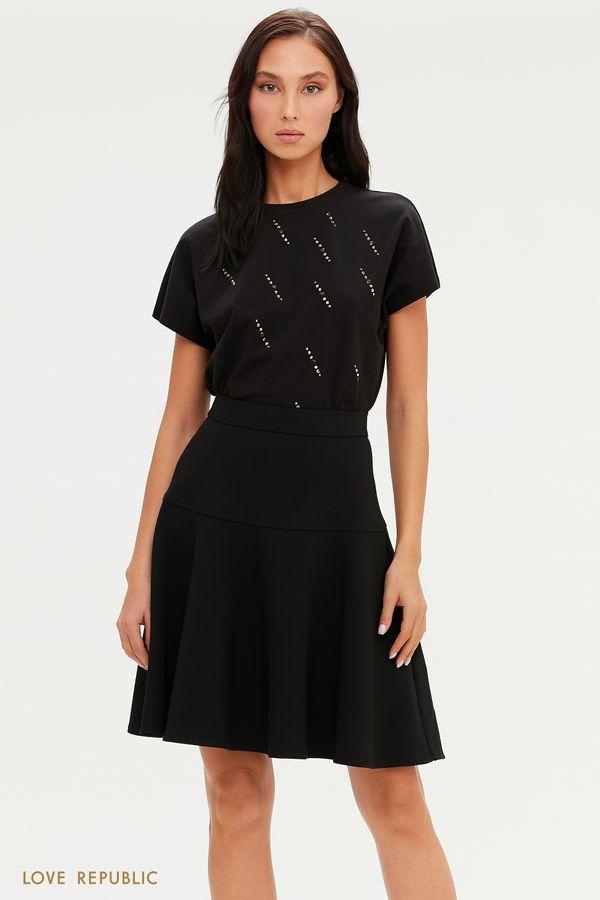 Черная юбка А-силуэта с фактурным швом 0451255212-50