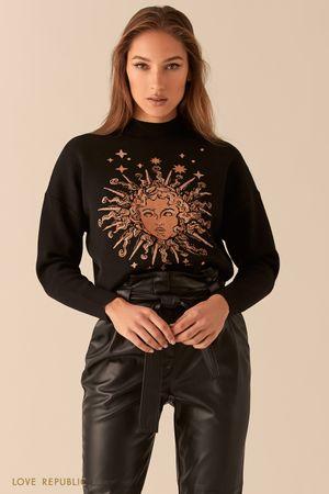 Свободный свитер с астро-принтом с опущенной линией плеч