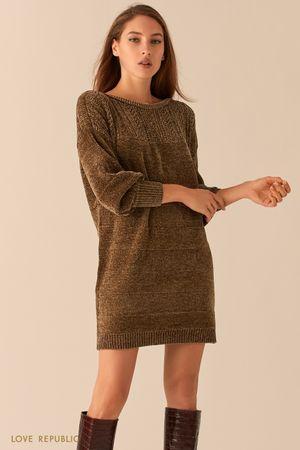 Мягкое велюровое платье с объемными рукавами