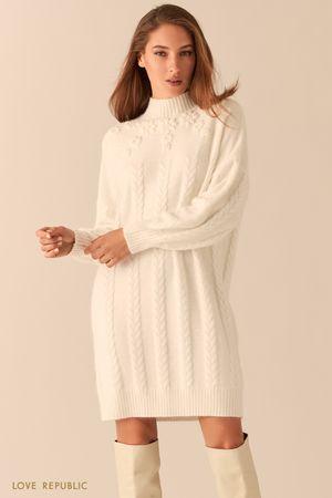Платье фигурной вязки с шерстью ангоры