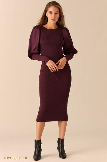 Трикотажное платье с атласными рукавами-буфами 0451309557