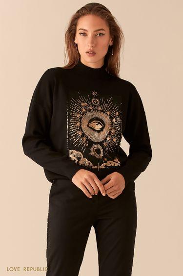 Свободный черный свитер с золотым астро-принтом 0451310810