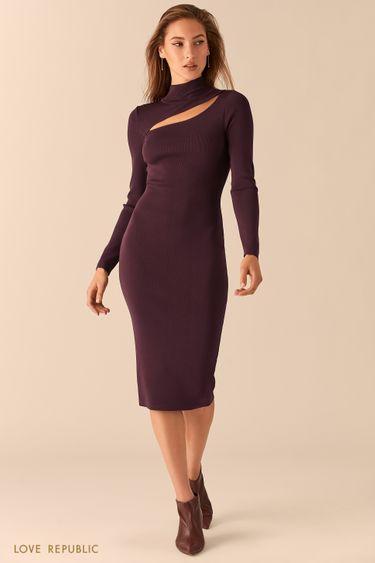 Трикотажное платье миди с фигурным вырезом 0451314566