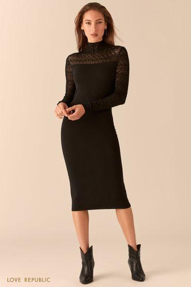 Трикотажное платье длины миди с кружевными вставками 0451320569