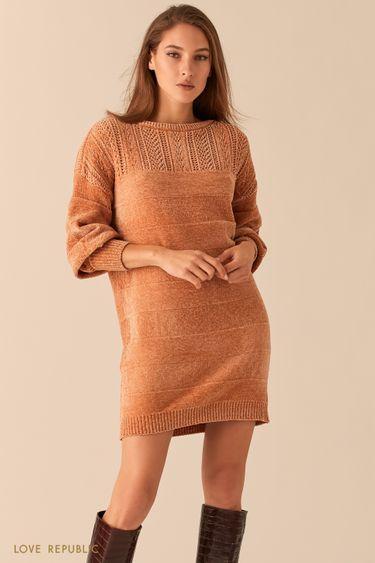 Мягкое велюровое платье с объемными рукавами 0451337575
