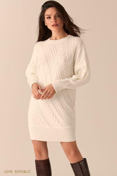 Мягкое платье с диагональными косами 0451345578