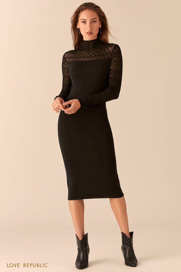 Трикотажное платье длины миди с кружевными вставками 0451320569-50