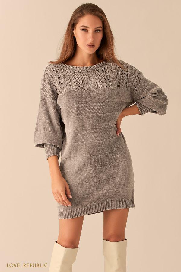 Мягкое велюровое платье с объемными рукавами 0451337575-13