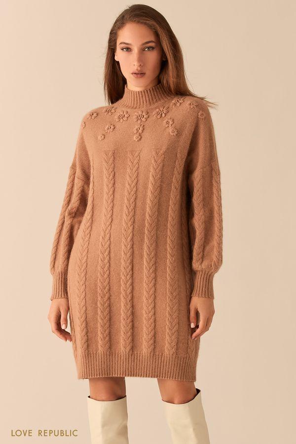 Платье фигурной вязки с шерстью ангоры 0451343577-60