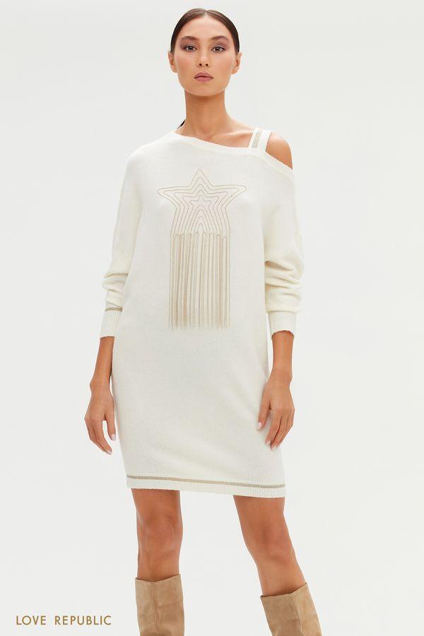 Трикотажное платье с открытым плечом и декором на груди 0451346579-38