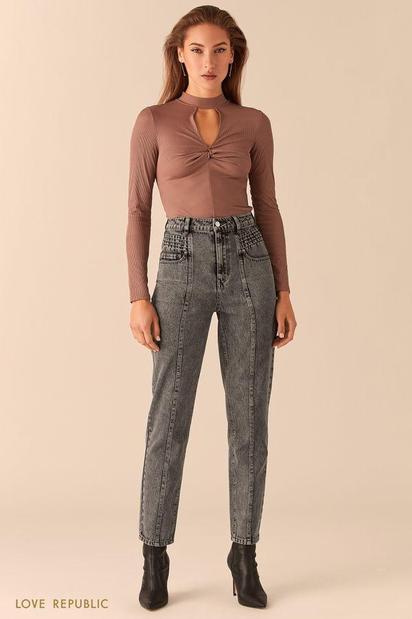Серые прямые джинсы с фактурными швами 0451401707-108