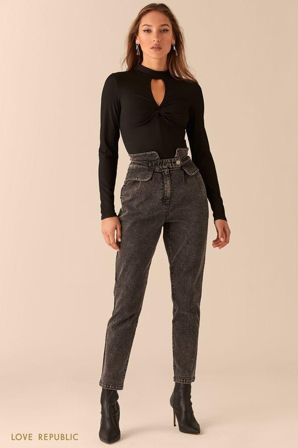 Серые джинсы с фигурным широким поясом 0451402712-108