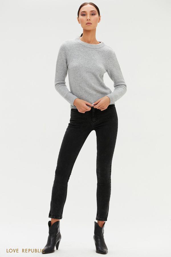 Черные укороченные джинсы с молниями 0451403713-50