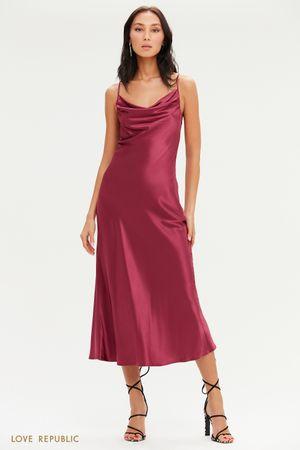 Платье-комбинация длины миди с вырезом