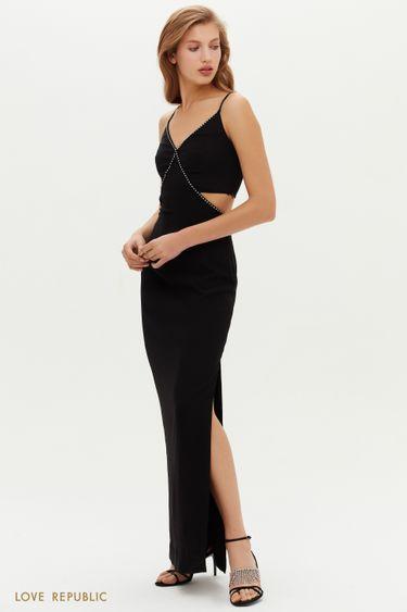 Открытое платье с разрезами и отделкой стразами 0452005530