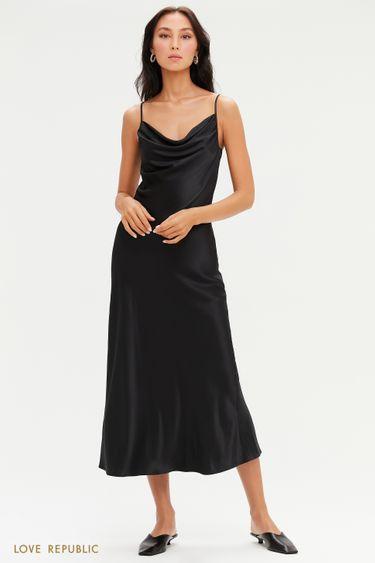 """Платье-комбинация длины миди с вырезом """"качели"""" 0452009538"""