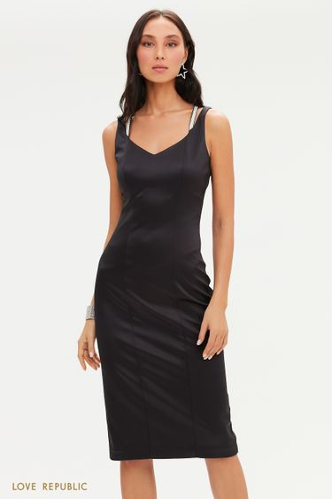 Атласное платье-футляр с серебристыми бретелями 0452010539