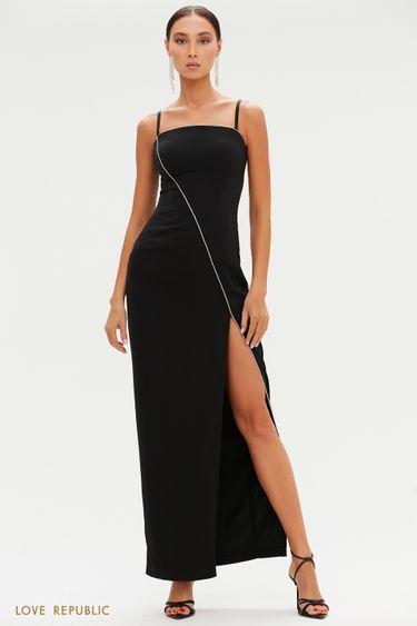 Черное платье макси с высоким разрезом и отделкой стразами 0452017559