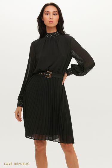 Черное платье-миди с ремнем 0452035580