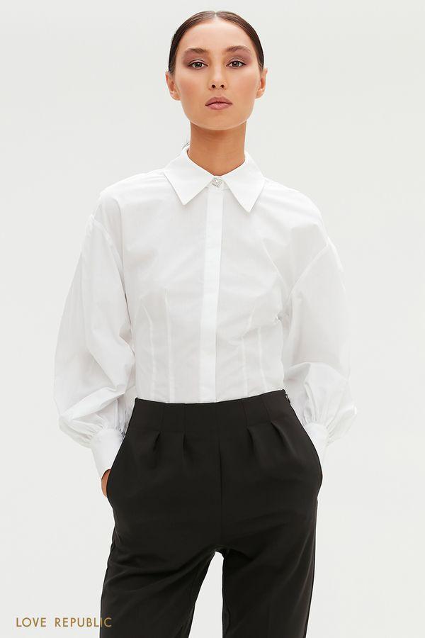 Приталенная белая рубашка с объемными рукавами 0452034325-1