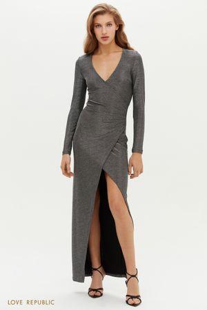 Платье макси с запахом и высоким разрезом