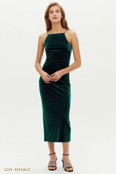 Бархатное лаконичное платье-комбинация 0452102505