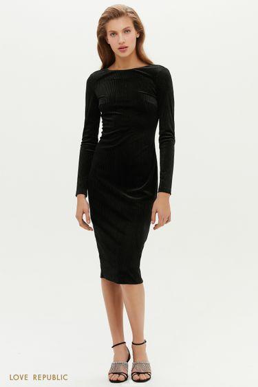 Черное велюровое платье с люрексом 0452106553