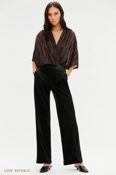 Велюровые широкие брюки черного цвета с люрексом 0452106703