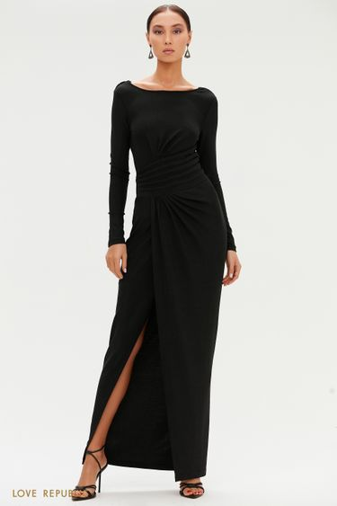 Блестящее платье макси с разрезом 0452107509