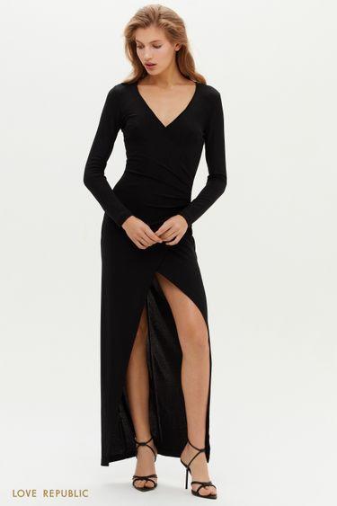 Платье макси с запахом и высоким разрезом 0452107513