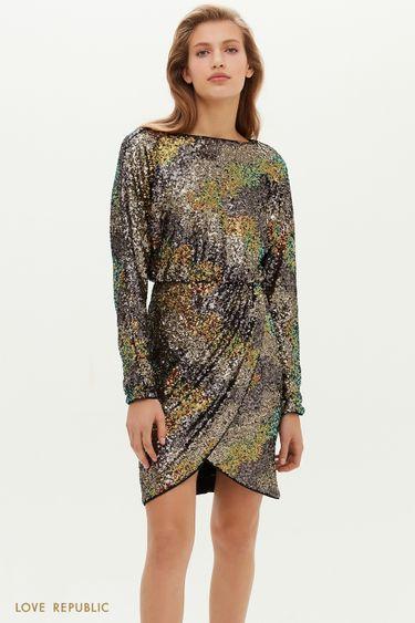 Платье в пайетках с запахом и вырезом на спине 0452122523