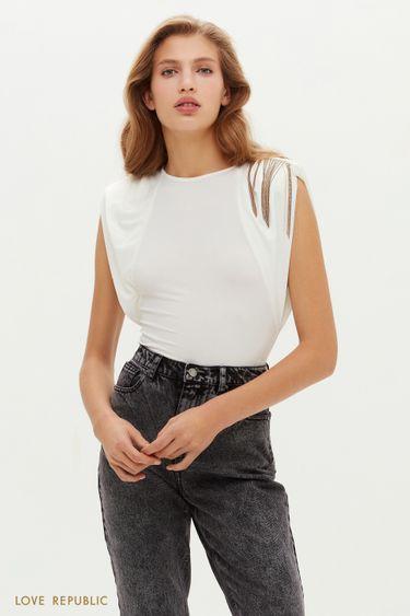 Остромодная блузка с акцентной бахромой на плече 0452133319