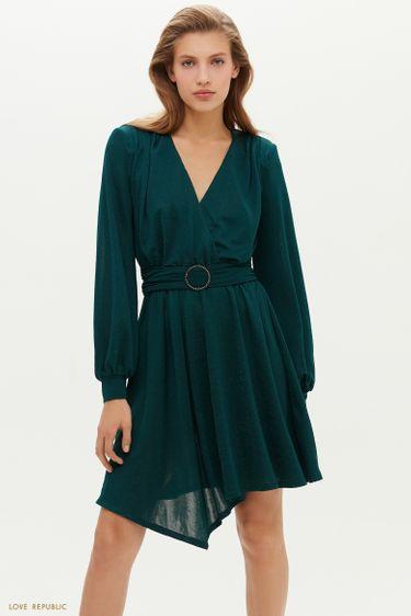 Мерцающее платье с асимметричным подолом 0452138561