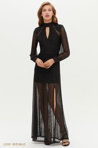 Черное платье макси с полупрозрачным подолом 0452139563
